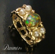 Woven Ring with Opal & Pearls