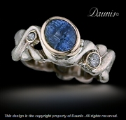 Narrow Water ring with Blue Sapphire