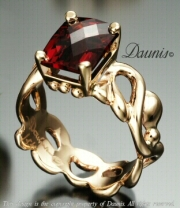NLS Water Ring narrow with Garnet