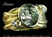 Atuik Wide Wrap ring gold Tourmalinated quartz and diamond